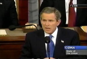 President George W. Bush announces PEPFAR during his State of the Union address